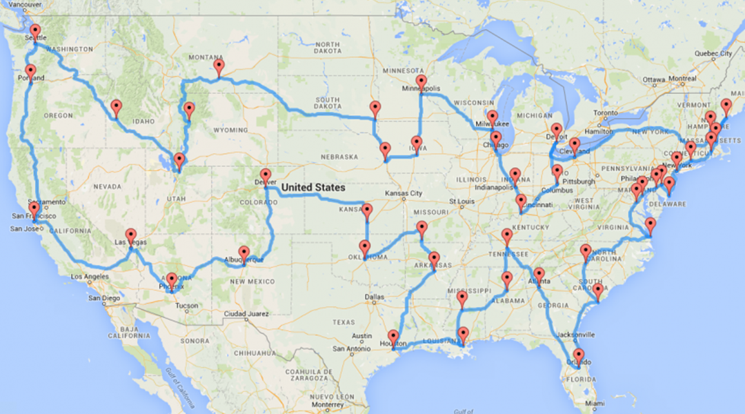 Road Trip Cities Map
