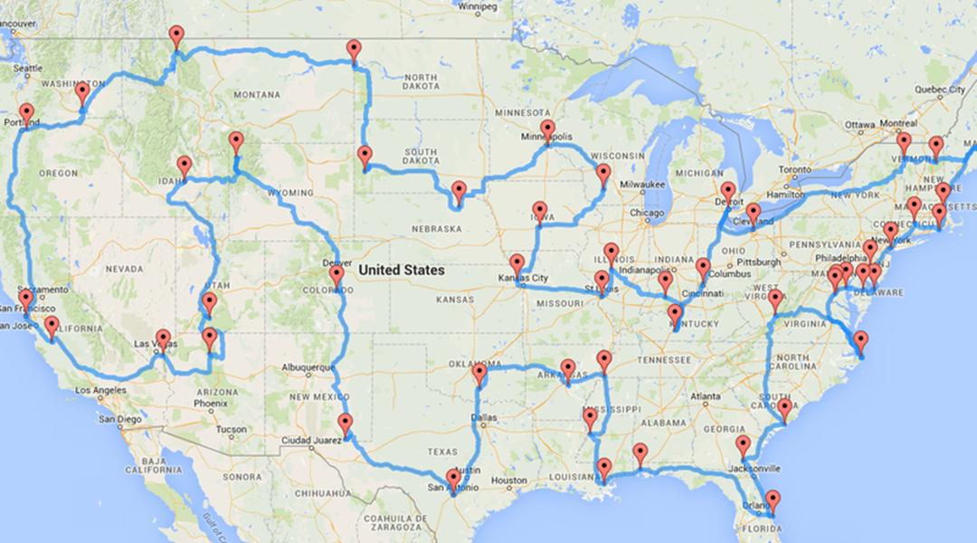 Road Trip Landmarks Map